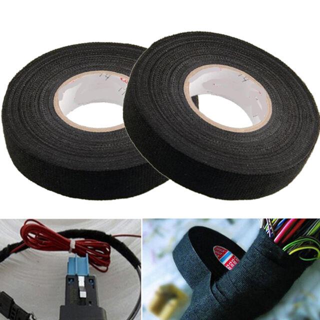 Black Car Auto Wiring Harness Adhesive Cloth Fabric Tape Loom Tape