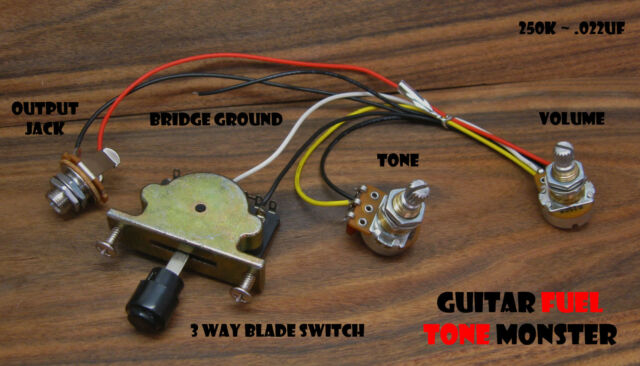 TONE MONSTER Guitar Wiring Harness 3W/1V/1T/J 3 Way Switch Volume