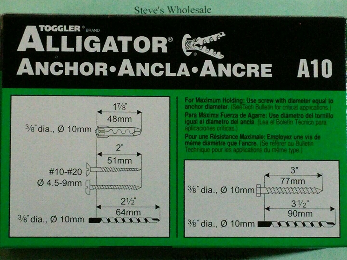 Toggler Alligator Toggler Alligator A10 Flush Mount Anchor Polypropylene Made In Us For 10 To