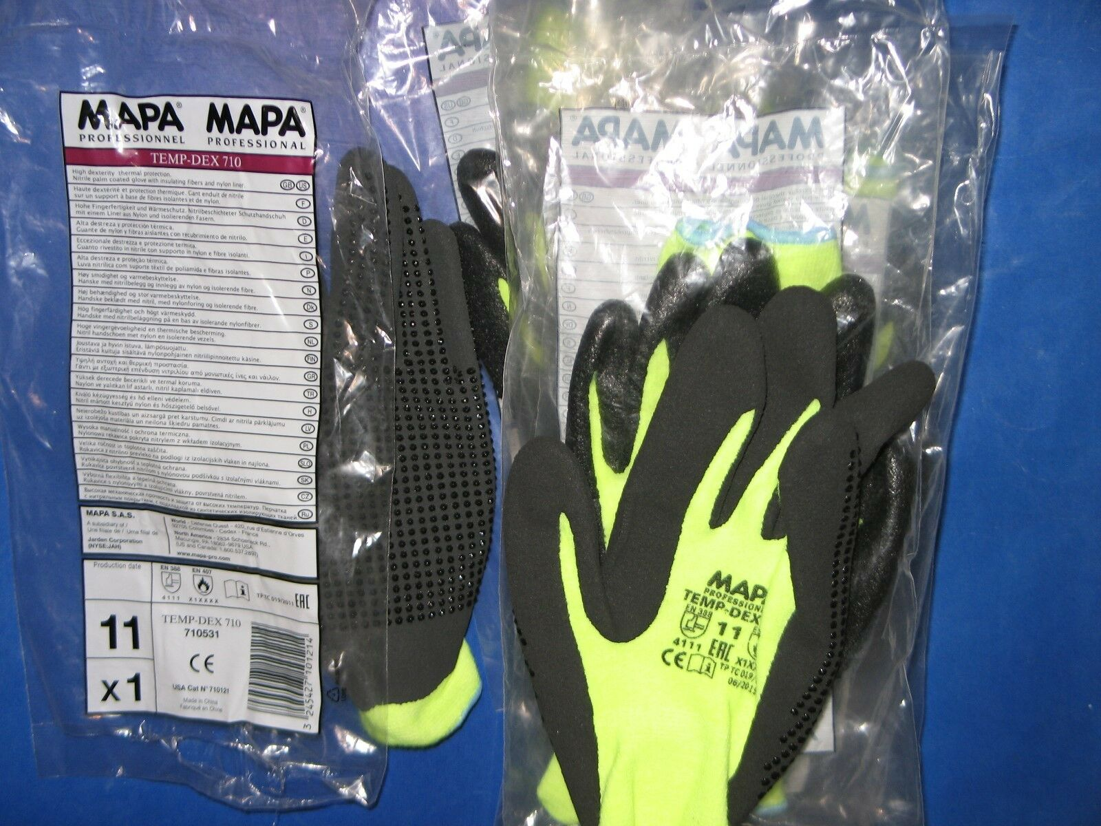 Isolerende Latex Mapa Temp Dex 710 Professional Gloves Sz 11 High Dexterity Thermal Protection