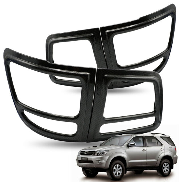 rear tail lamp lights cover trim carbon black for toyota fortuner suv 2006 10