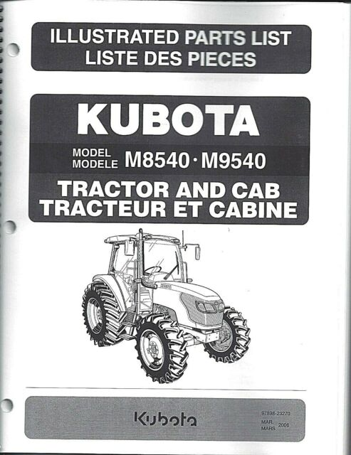 Kubota M8540 Tractor Illustrated Parts Manual CAB Only 97898-23270