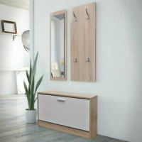 Hallway Furniture Set Shoe Storage Bench Coat Rack Mirror ...