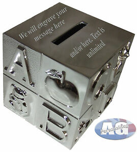 Abc Money Box Silver Plated Free Engraving Boy Girl