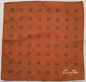 Vintage Caractere Paris Brown 11 5 Square Perfume Small - Silk Scarf Joop
