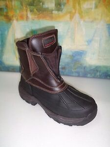 Totes Glacier Brown Leather Uppers Winter Snow Duck Boots