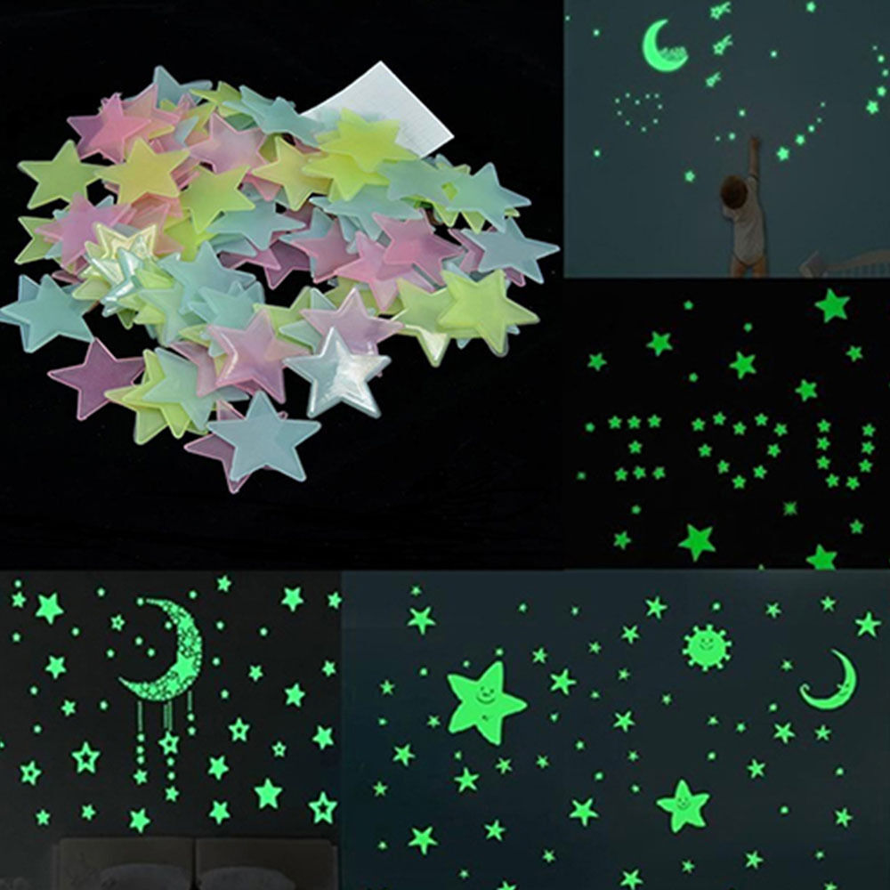Stars Room Decor Details About 100pcs 3cm Stars Glow In The Dark Luminous Fluorescent Wall Stickers Room Decor