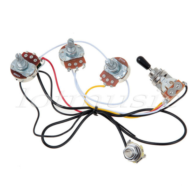 Guitar Wiring Harness With 2 Volume 1 Tone Pots 500k 3 Way Toggle
