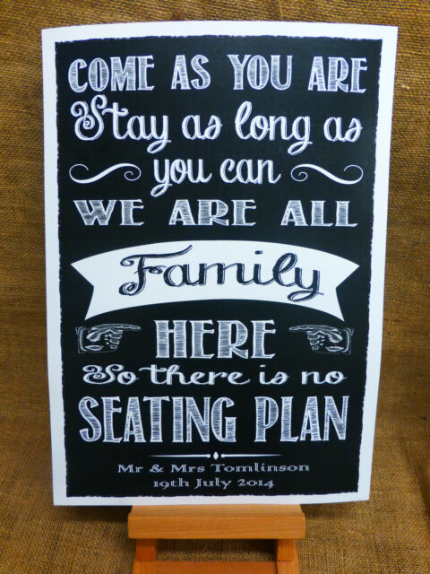 No Seating Plan Sign A3 Vintage Chalkboard Style Personalised