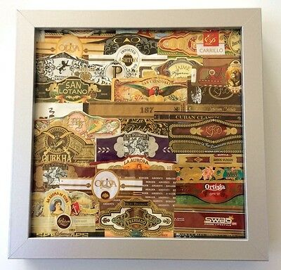 CIGAR BAND FRAMED ART GIFT Picture Wood Collage Artwork Office 9