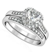 Heart Shape CZ Wedding & Engagement Silver Rhodium EP