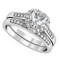 Heart Shape CZ Wedding & Engagement Silver Rhodium EP ...