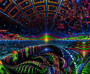 Peace Black Wallpaper Ultraviolet Neon Blacklight Glow Trippy Psychedelic Art