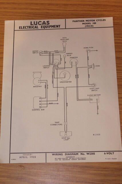 Panther Model 100 Motor Cycles 1954-55 Lucas Wiring Diagram April