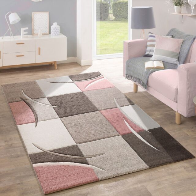Teppich Rosa Grau Living Room Rug Pale Pink Beige Brown Grey Pastel Colour