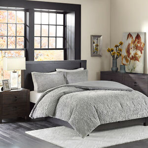 BEAUTIFUL ULTRA SOFT PLUSH WARM MODERN ELEGANT GREY TEXTURED COMFORTER SET NEW