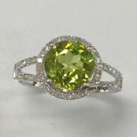 Peridot Engagement Promise Ring,Round Cut 8mm,Halo .35ct ...