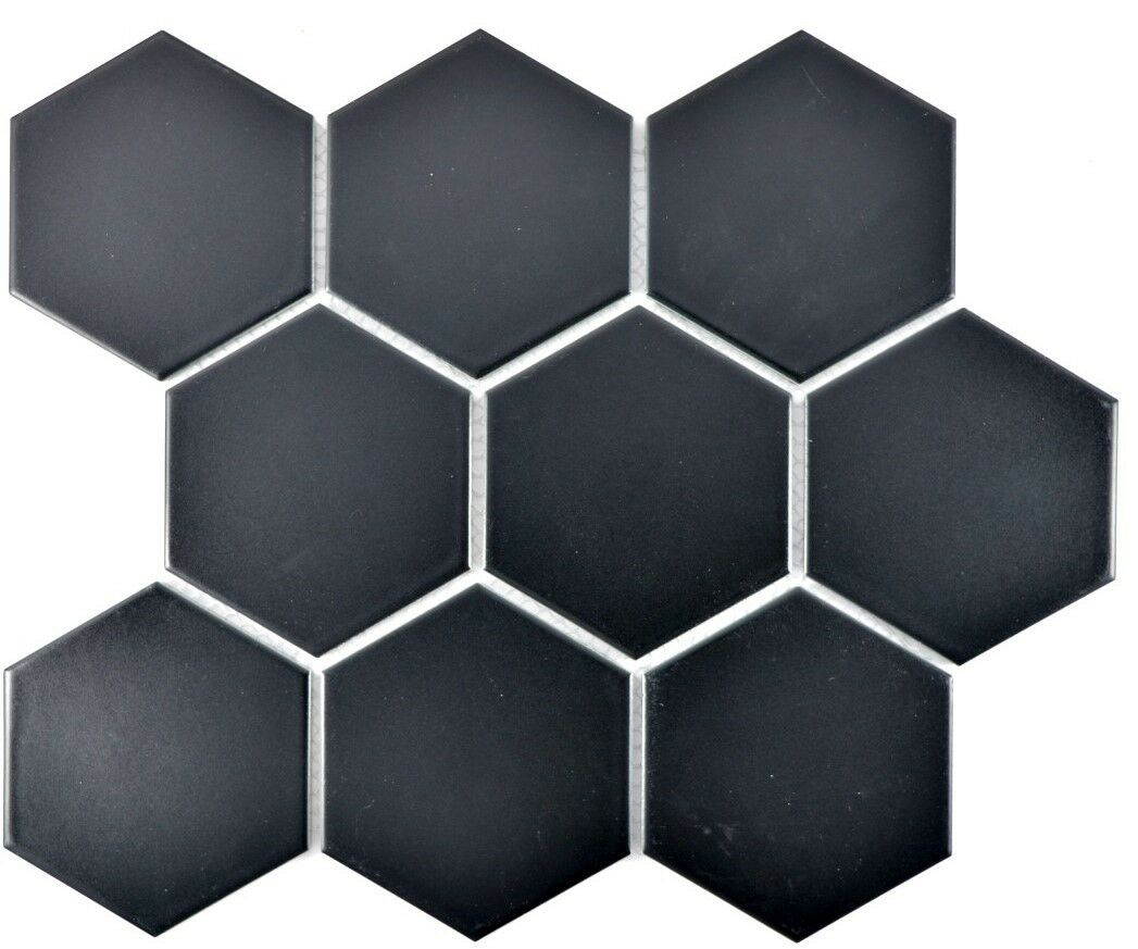 Fliesen Anna Keramik Mosaik Fliese Keramik Hexagon Schwarz Matt Pool 11f 0311 F 10