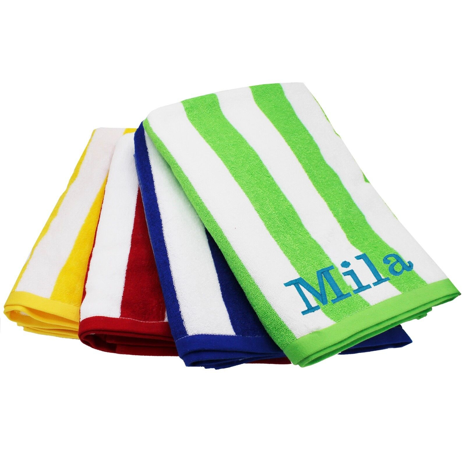 Yellow Towels Custom Embroidered Striped Pool Beach Towel Red Blue
