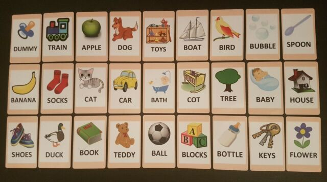 First Words Flash Cards Set - Educational Learning Picture  Word - flash cards words