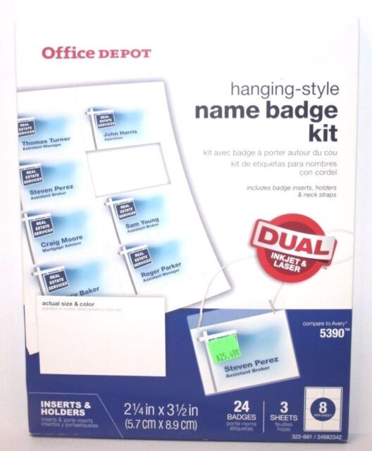Office DEPOT Name Badge Inserts 72 Count Avery 5390 Business Card