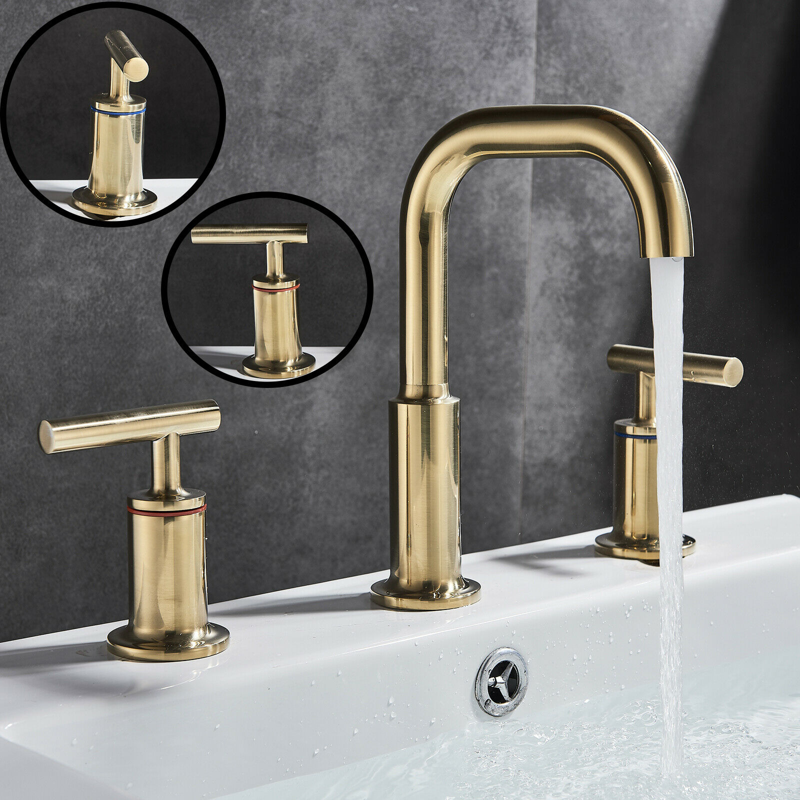 Axor Starck V Faucet Brushed Gold 8 Inch Widespread Bathroom Basin Faucet Two Handle 3 Hole Mixer Tap