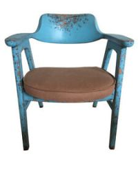 Chair Scandinavian design blue painted wood | eBay