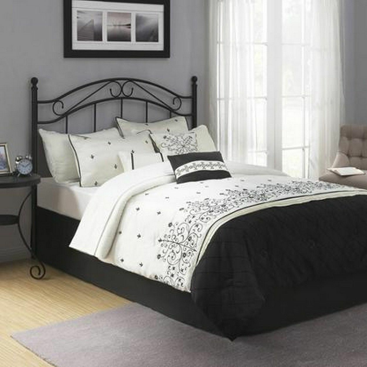 Traditional Black Metal Headboard Full Queen Size Bed Frame Bedroom Furniture Furniture Beds Mattresses