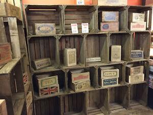 6 X Vintage Rustic Wooden Farm Apple Crate Display Shop