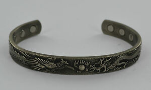 M Magnetic Japanese Dragon Copper Torque Bangle Bracelet