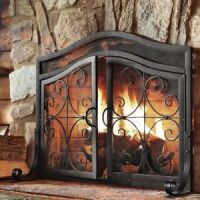 Fireplace Screens With Doors Black Small Decorative ...