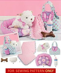 SEWING PATTERN! MAKE STUFFED CLOTH DOG~PUPPY & CLOTHES~BED
