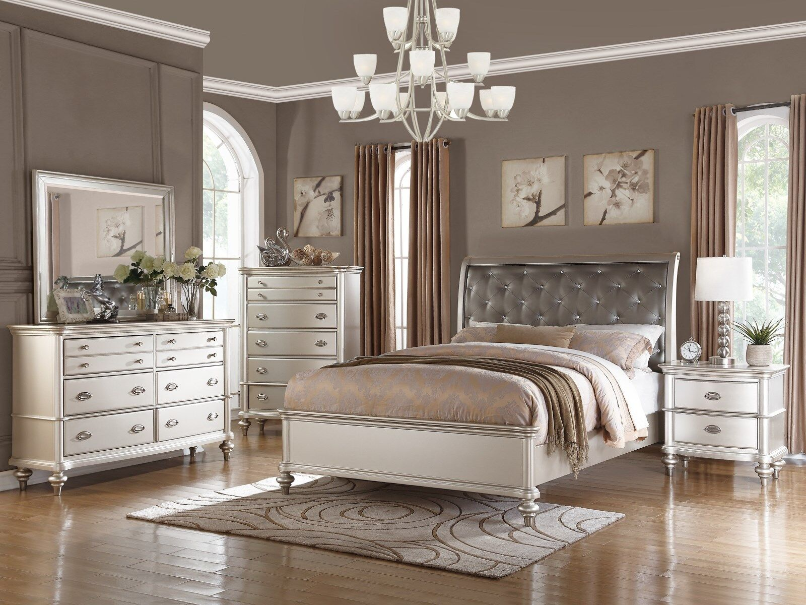 New Bedroom Set Details About New 5pc Zurich Modern Transitional Metallic Silver Wood Queen King Bedroom Set