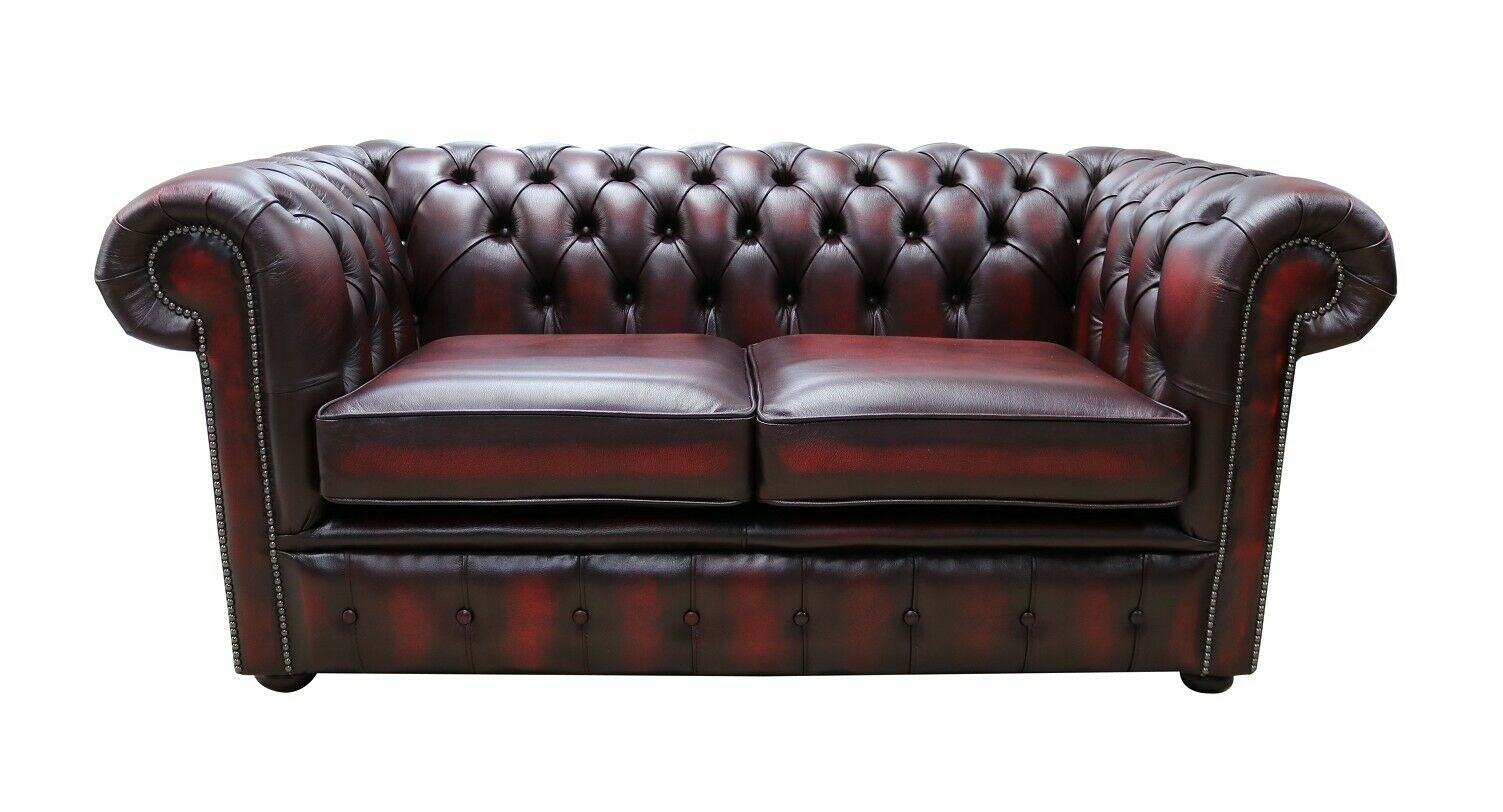 Ecksofa Fireside Details Zu Authentic Chesterfield Real Leather Sofa Settee Couch Antique Oxblood Red Rosso