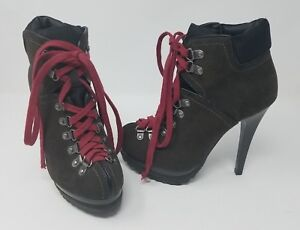 Hiking Boots X Stilettos High Heels Lace Up Shoes Suede