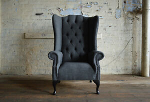 Modern Queen Anne Dark Grey Wool High Back Chesterfield