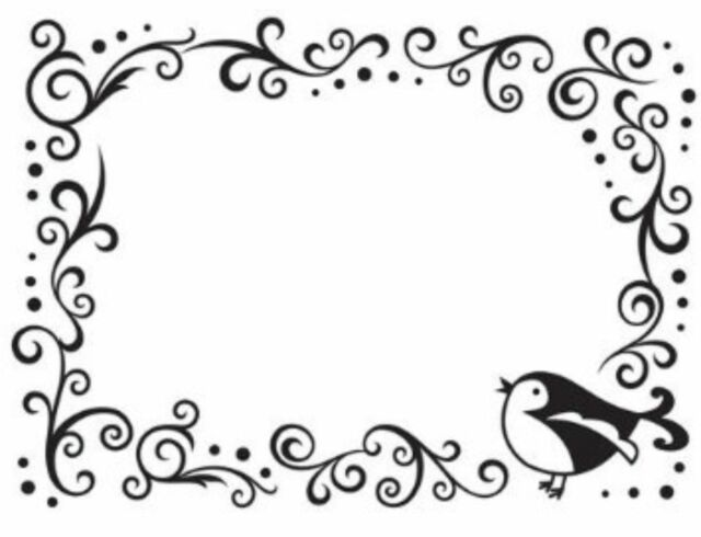 Darice Embossing Folder Bird Scroll Border Frame Swirls Dots A2 1216