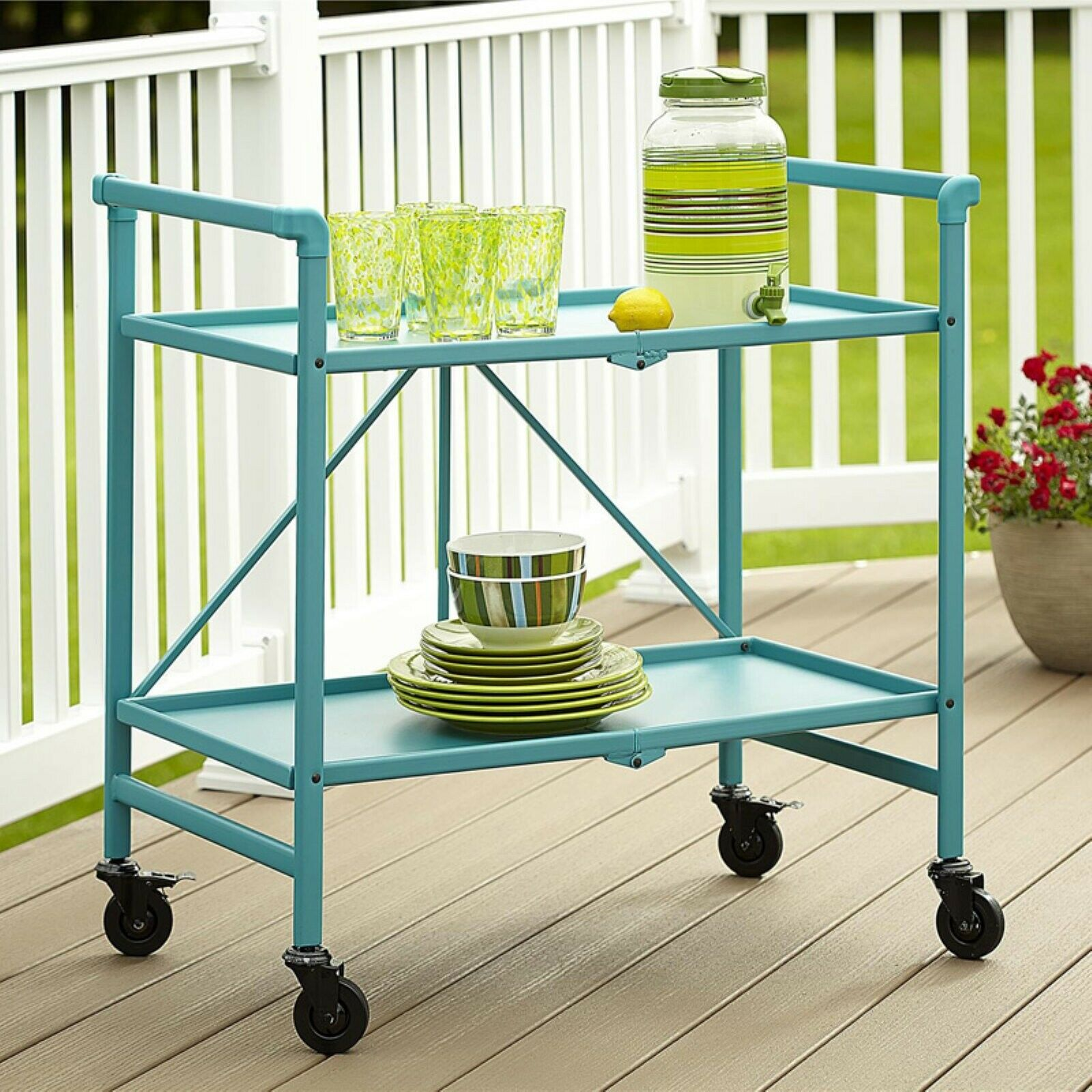 Storage Table On Wheels Details About Cosco Folding Serving Cart With Wheels Rolling Metal Storage Table Teal