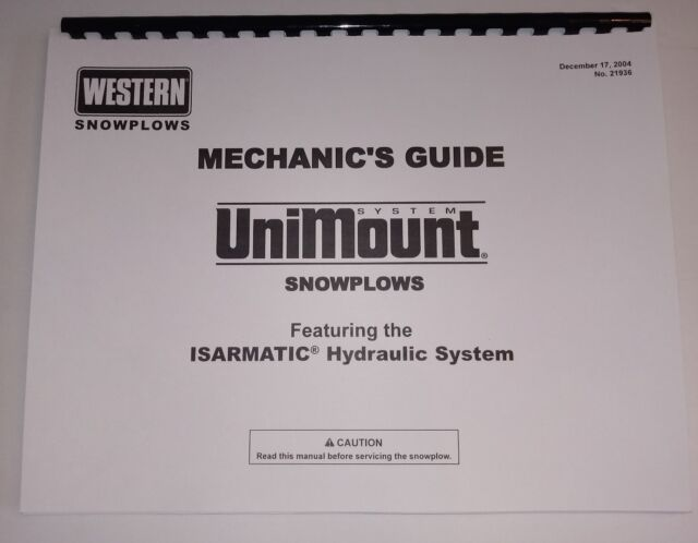 Western Unimount Snow Plow Mechanic\u0027s Guide Repair Manual Parts List