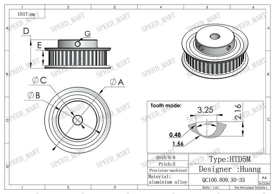 pitch timing belt pulley