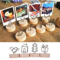 Creative Round Wooden Stand Wire Note Picture Memo Photo ...