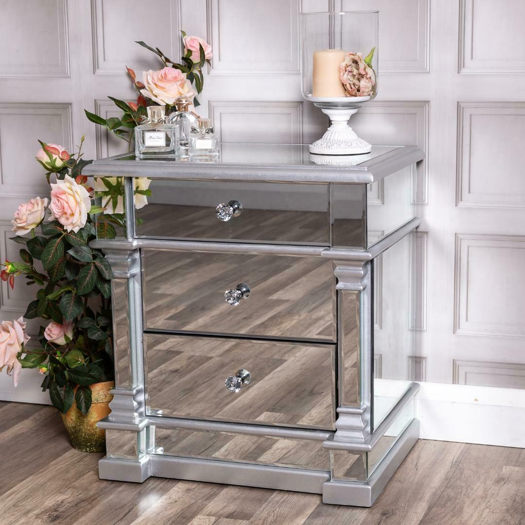 Silver Mirrored Bedside Table Chest Venetian Glass Cabinet Bedroom Furniture Ebay
