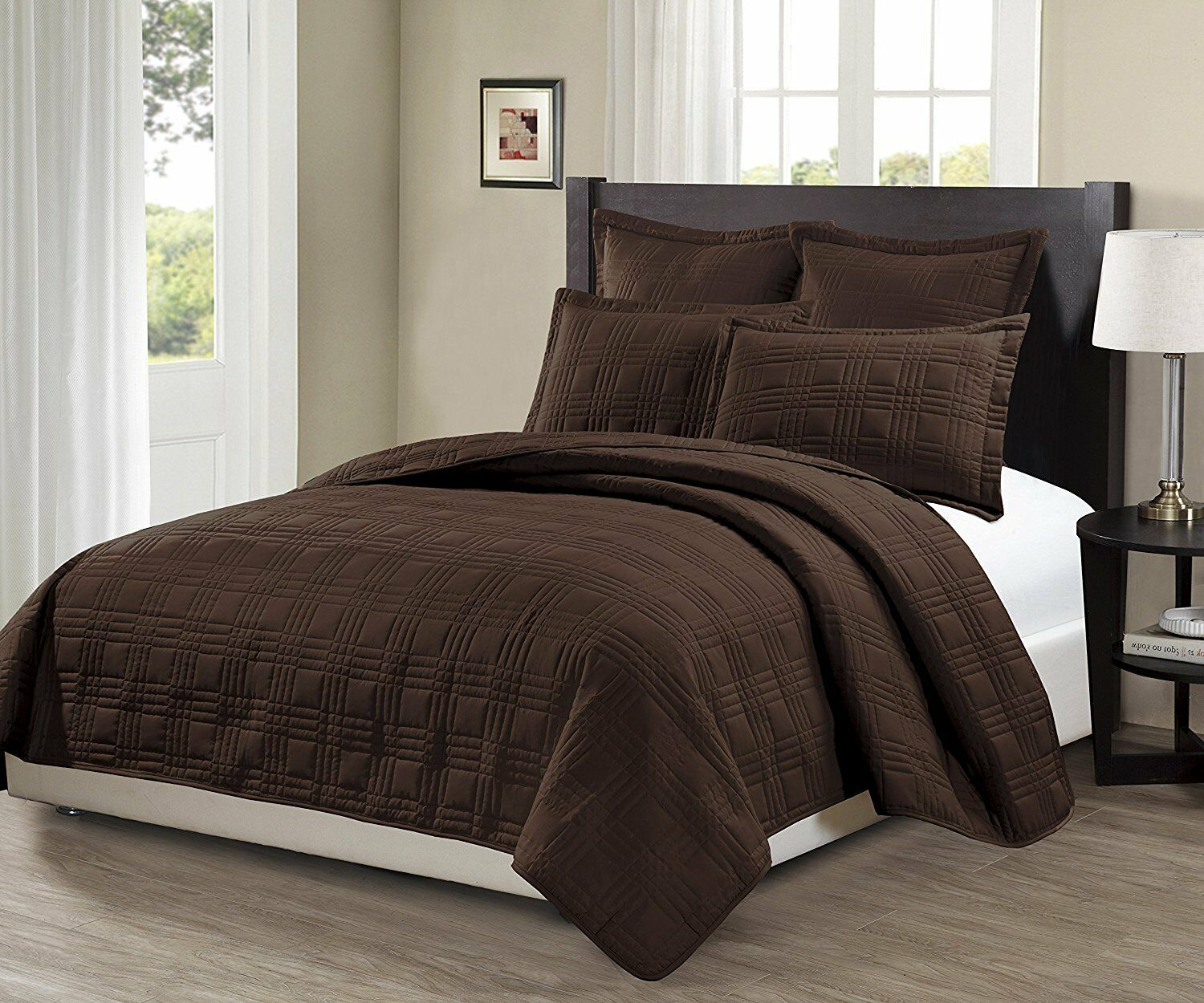 Assassins Creed Bettwäsche Linen 3pc Oversize Geo Quilted Embroidery Solid Brown Bedspread