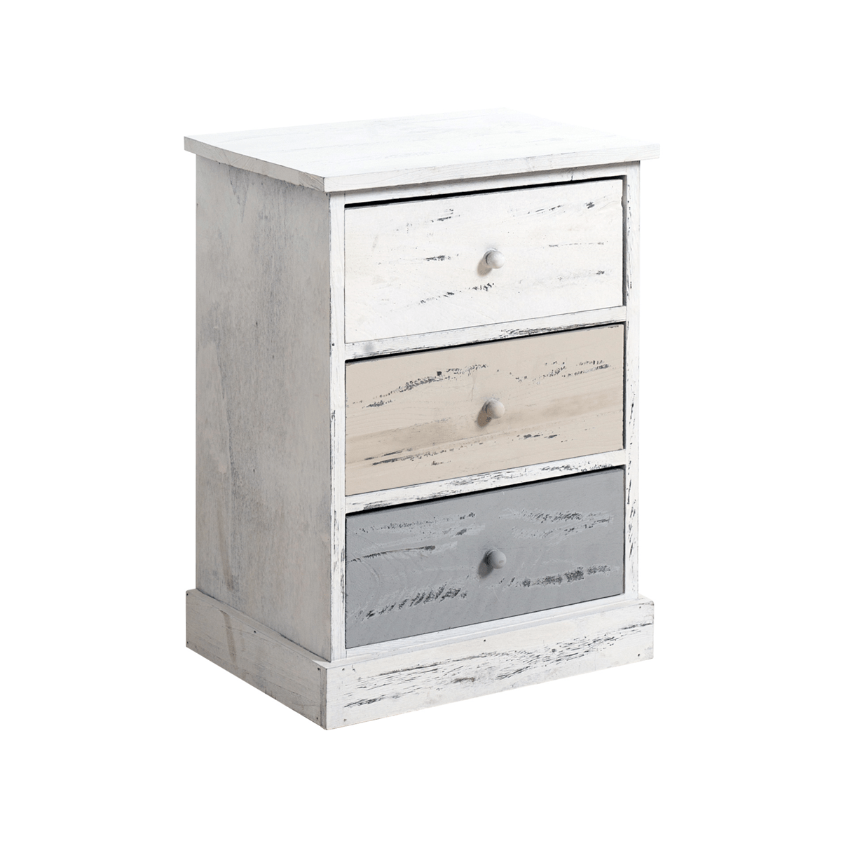Mobili Rebecca Mobili Rebecca Cabinet Bedside Table 3 Drawer Wood White Grey Rustic Bedroom