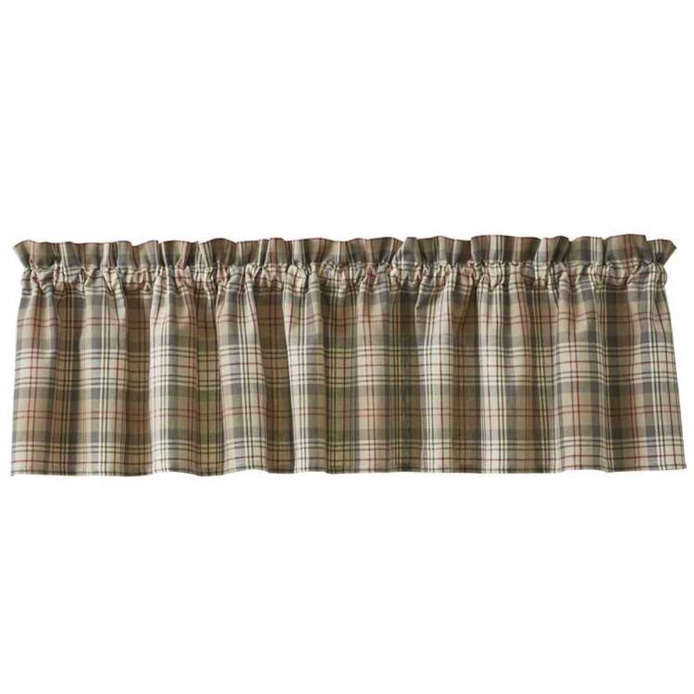 Plaid Taupe Gentry Valance 72x14 Taupe Tan Gray Red Cream Plaid Cotton Country Farmhouse