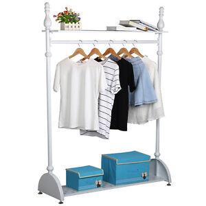 Used B 4ft Garment Clothes Rail Hanging Rack Shoe Storage