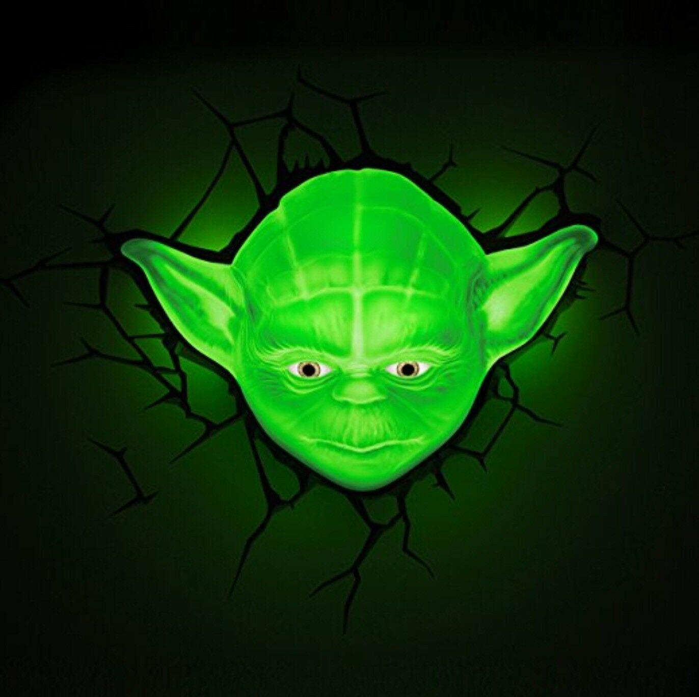 Star Wars Yoda Face 3d Deco Light Night Safety Light Led Bulbs New - 3d Deko Light