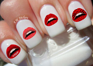 Lips Nail Art Stickers Transfers Decals Set Of 52 Ebay