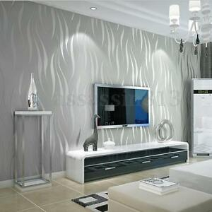 3d Wave Flocking Wallpaper 10m Silver 3d Non Woven Wave Stripe Embossed Wallpaper