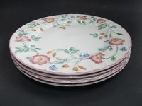 Churchill Staffordshire Pink Briar Rose Dinner Plates Fine ...